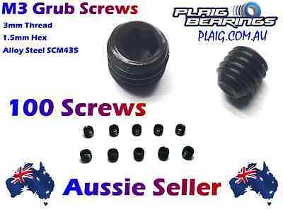 M3 Grub Screws Pack of 100 - 3mm Thread, 3mm Length, 1.5mm Hex Wholesale