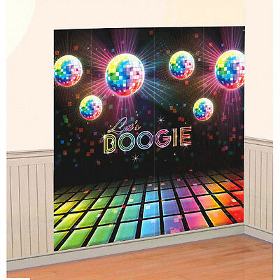 70's Themed Party Disco Fever Let's BOOGIE Scene Setters Wall Decorating Kit~2pc