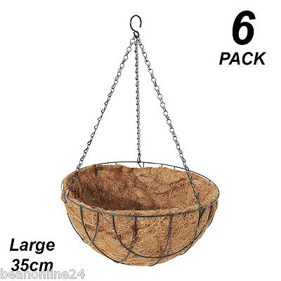 6 Pack x Large 35cm Hanging Baskets Garden Planters with Liner & Hang Chain