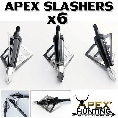6x APEX SLASHER BROADHEADS FOR COMPOUND & RECURVE BOW ARCHERY & HUNTING
