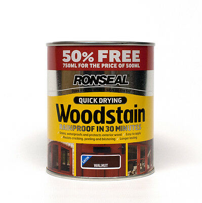 Ronseal Quick Drying Woodstain Satin - Walnut - 750ml Special Offer Pack
