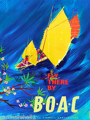 Fly there Asia  China Chinese Airplane Vintage Travel Art Poster Advertisement