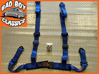 4 Point BLUE Racing Car Seat Belt Harness Track / Off Road / 4x4