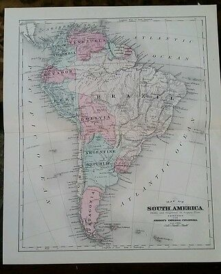Antique map~South America  ~1894~Handcolored~Copper plate