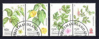 Christmas Island 2013 Flowering Shrubs Set 2 Pairs (4) CTO
