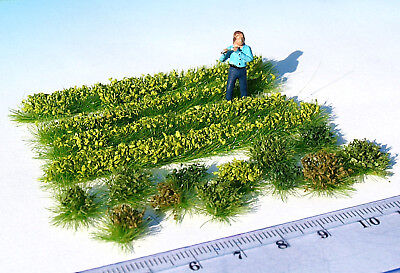Miniature green garden plants bushes HO / O scale for model railway & dollhouse