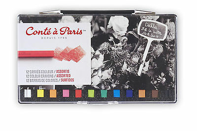 Conte a Paris Carres Artists Colour Crayons Set | 12 Assorted Colours
