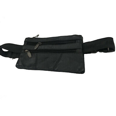 GENUINE LEATHER BUM BAG Waist Money Travel Belt Black Pouch Security Zip Fashion