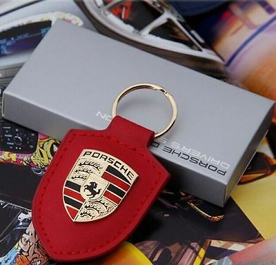 Porsche Design Key Chain Badge Logo Leather Key Ring Gold Crest Keychaing red