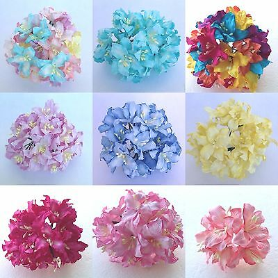 50 Lily, Lilies Mulberry paper flowers - Scrapbook, card, wedding, craft