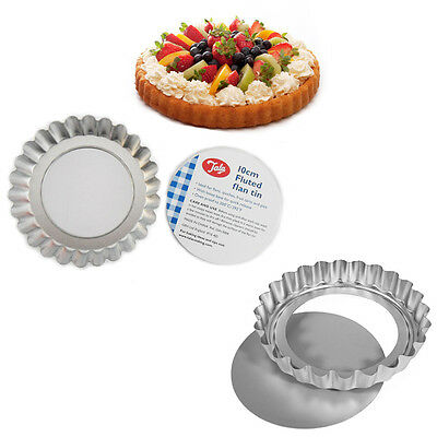 Pie Flans 6 x Loose Base Non-Stick TALA Tart Tin Baking Mould Flaunted 10CM Tray