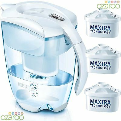 BRITA Elemaris Cool 3.5L XL Home Water Filter Jug with 3 MAXTRA Filters - White