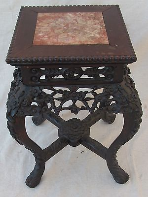 19Th C Carved Rosewood & Pink Marble Chinese Taboret Antique Table Stand