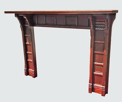 Victorian Black Walnut Mantle - Finely Paneled With Beautiful Frieze Carving