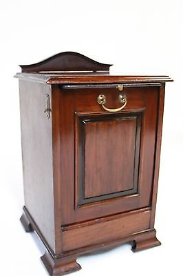 19Th Century Victorian Mahogany Coal Hod With Liner And Brass Locks