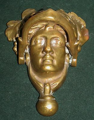 Large Brass Figural Antique Door Knocker-Mythical Figure Head