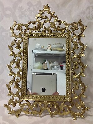 1940-50 Beautiful Victorian Style Tabletop Brass Mirror w/Stand; Great