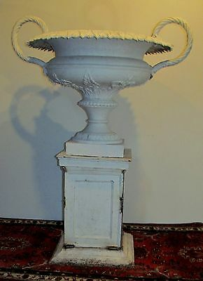 Monumental Antique 19Th Century Ornamental Iron Urn W/ Decorative Mounts-Best!