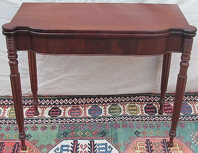 Sheraton Portsmouth New Hampshire Mahogany Game Table-Ring & Shaped Carvings