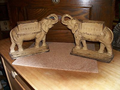 RARE Beautiful Pair of antique cast iron Elephant bookends / doorstops