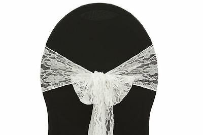 """150 VINTAGE LACE CHAIR COVER SASHES BOWS 7"""" x 108"""" WEDDING PARTY EVENT MADE USA"""