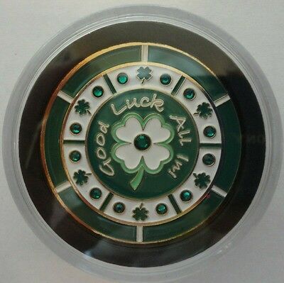 GOOD LUCK ALL IN! Spinner Poker Card Guard Cover Protector 4 Leaf Clover