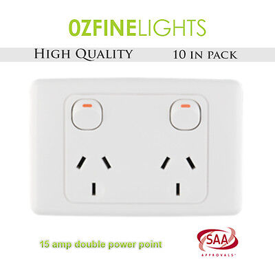 10X 15 AMP Double Power Point Electrical GPO Socket  240V SAA APPROVED