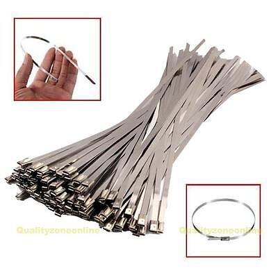 "100PCS 12"" Stainless Steel Header Exhaust Wrap Locking Cable Zip Ties Straps"