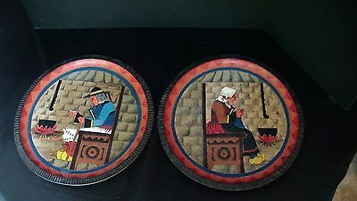 A Large Pair of French PAUL FOUILLEN Wooden Plates
