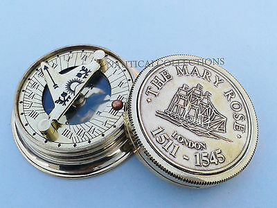 Sundial Compass - The Mary Rose London Compass - Brass Pocket Sundial Compass
