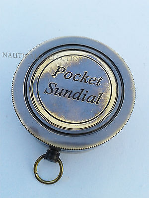 Brass Antique Pocket Sundial Compass / Maritime Nautical Pocket Sundial compass