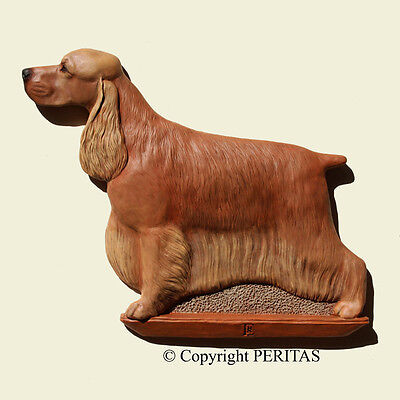 English Cocker Spaniel dog PERITAS wall sculpture statue art relief painting