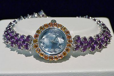 GENUINE 14.60cts! Amethyst, Sapphire & MOP Watch, Solid Sterling Silver 925!