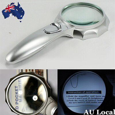 72mm Handheld Magnifying Glass Reading Map Magnifier With 6 LED Light EMAGN7204