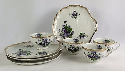 Mid Century Napco China 4 Shell Purple Violets Snack Plates and Cups IVD230