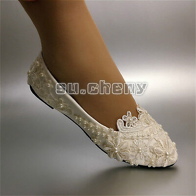 su.cheny Flat/4cm/8cm heels White flat lace pearls flower Wedding Bridal shoes