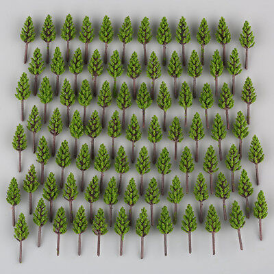 New 100pcs Model Pine Trees Deep Green For N Z Scale Building Street Layout 38mm