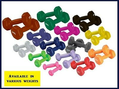 Vinyl Dumbbells Hexagon Non Slip Hand Weights Various Lbs Choice Set of 2