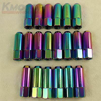 20Pcs Neo Chrome Jdmspeed 60Mm Extended Forged Aluminum Tuner Racing Lug Nuts