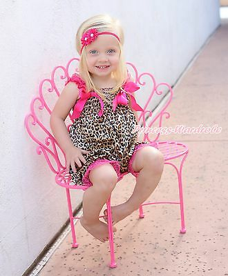 Hot Pink Leopard One Piece Night Gown Dress Romper Baby Girls Jumpsuit NB-36M
