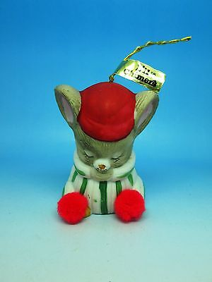 """VINTAGE JASCO LIL' CHARMERS 2 5/8"""" PORCELAIN SERVICE BELL PRAYING MOUSE WITH TAG"""