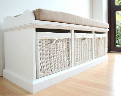 Tetbury White Storage Bench with Cushion. ASSEMBLED large hallway bench and seat