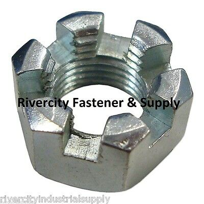 (1) 1/2-20 Slotted Hex Castle Nut Zinc Plated 1/2 x 20 Fine Thread Package of 1