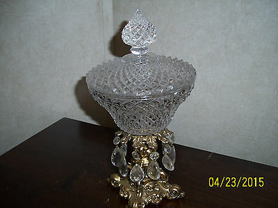 Vintage Accurate Cast Brass Diamond Cut Crystal Glass Candy Dish/Bowl ~ Heavy ~