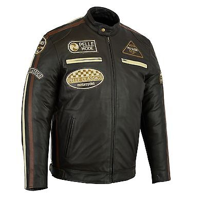 PELLE Fashion motorbike motorcycle leather jacket with badges