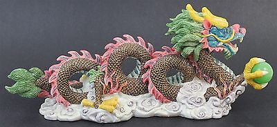 Vintage Chinese Export Ethereal Cloud Dragon Holding Jade Green Orb