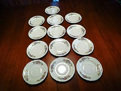 """Edwin Knowles China Co Floral Cream 13 Saucers 6""""  Made in USA"""