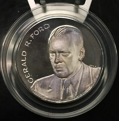 {BJSTAMPS}  1974 Gerald Ford Medalic Art Co. Inaugural Silver Medal 4.72 oz .999