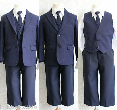 Gorgeous LTF Navy Dark Blue Toddler Teen boy wedding party formal dress suit