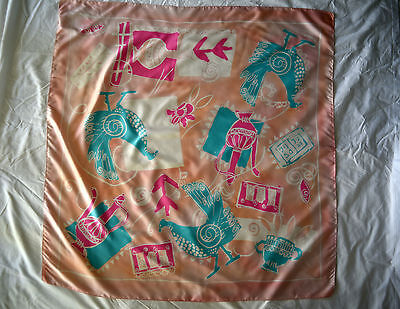 Vintage 1990s Next UK Chicken & Jugs Pink Pastel Coloured Made in Italy Scarf